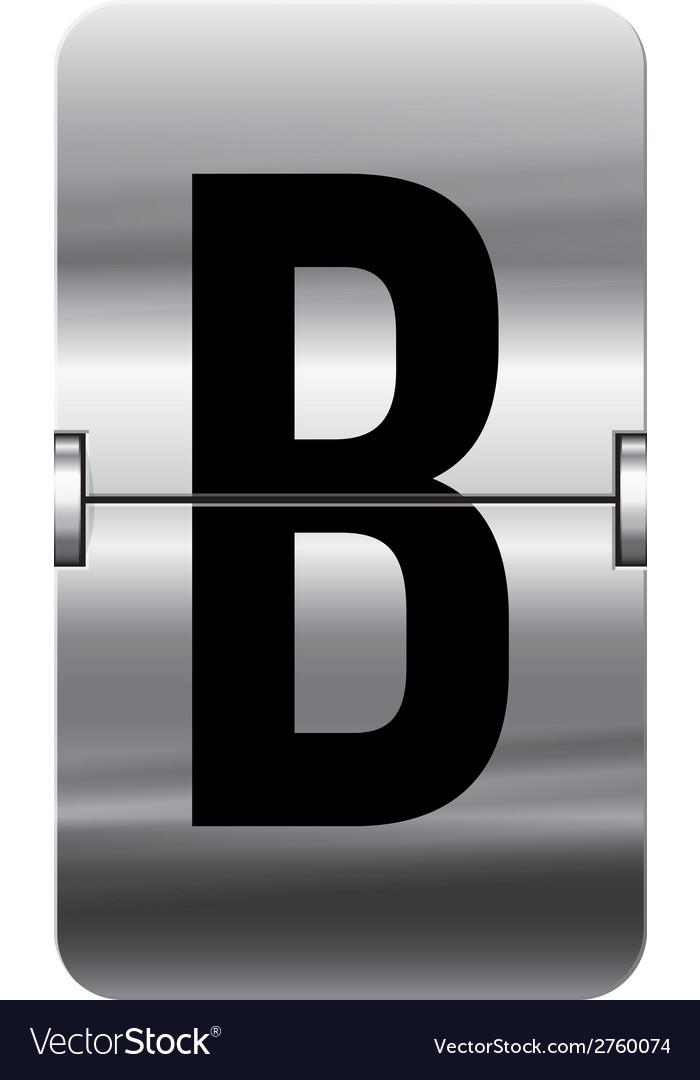 Alphabet silver flipboard letters b vector | Price: 1 Credit (USD $1)