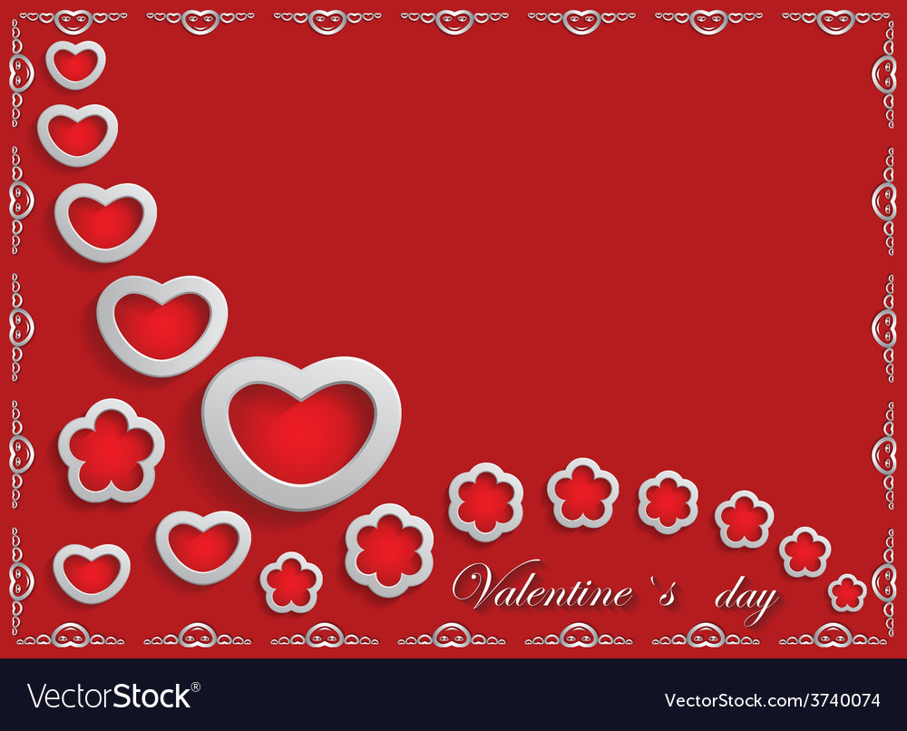 Card for valentine day on a red background vector | Price: 1 Credit (USD $1)