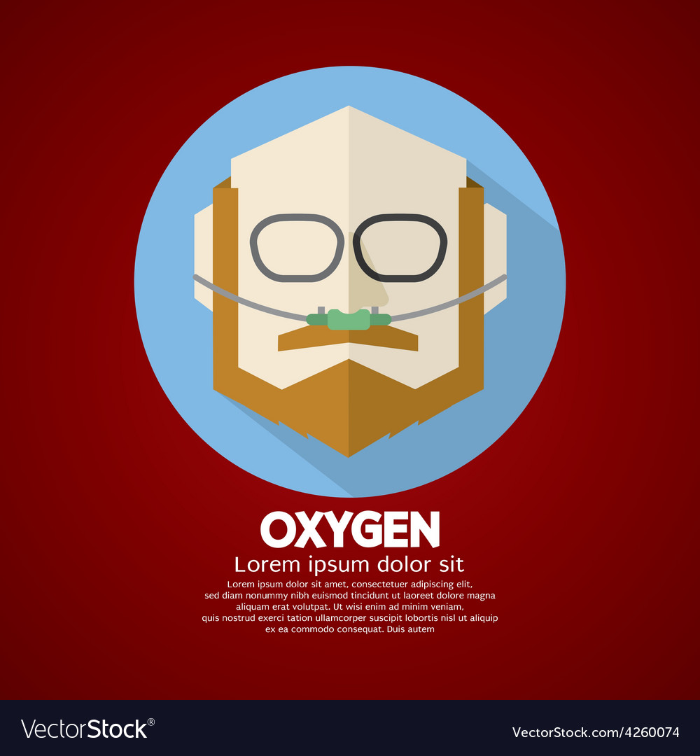 Elderly patient with respiratory oxygen nasal vector | Price: 1 Credit (USD $1)