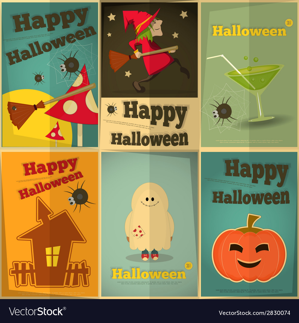 Halloween posters set vector | Price: 1 Credit (USD $1)