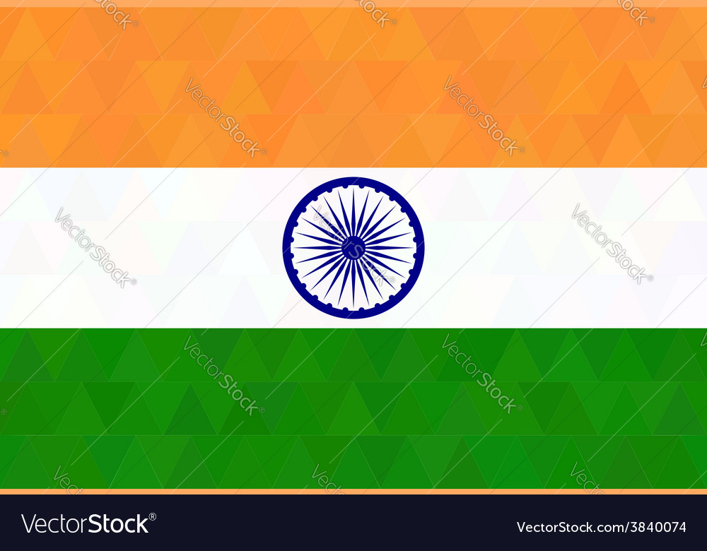 Indian flag in geometric style vector | Price: 1 Credit (USD $1)