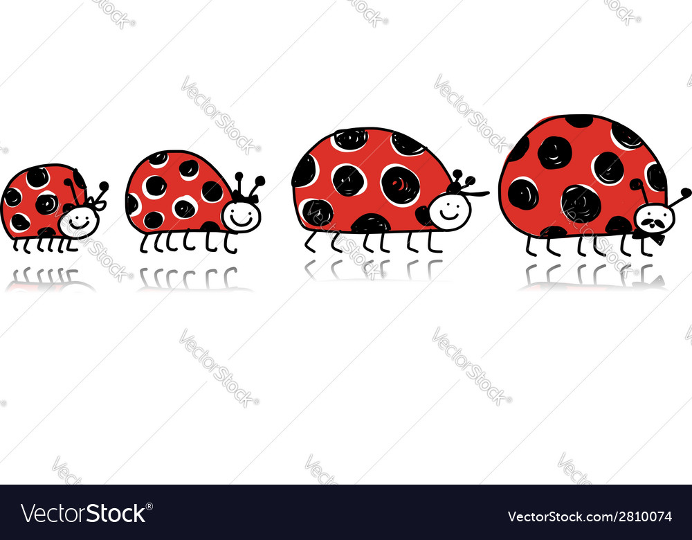 Ladybird family for your design vector | Price: 1 Credit (USD $1)