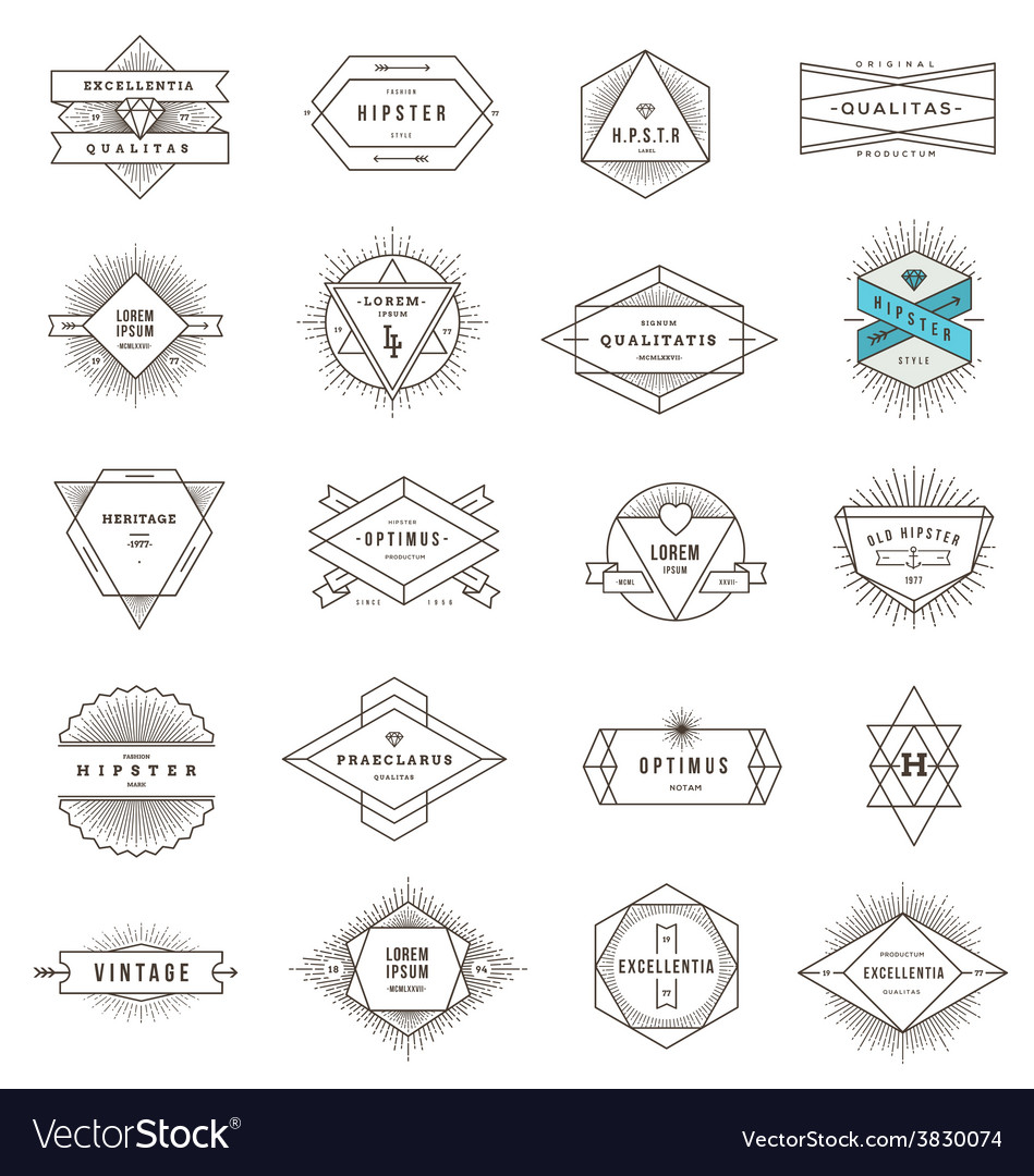 Set of hipster line emblems and signs vector | Price: 1 Credit (USD $1)