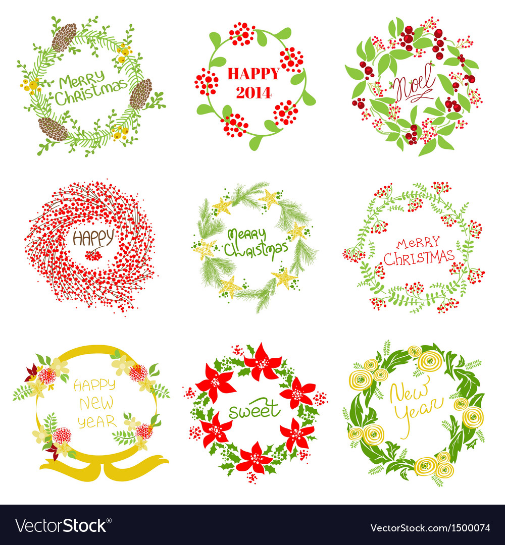 Set of vintage christmas and new year wreath vector | Price: 3 Credit (USD $3)