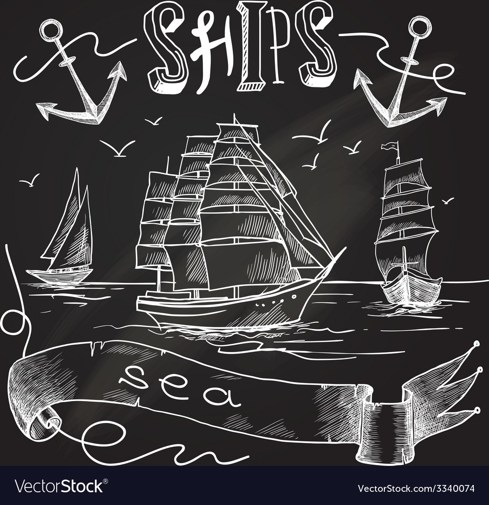Ship chalkboard poster vector   Price: 1 Credit (USD $1)