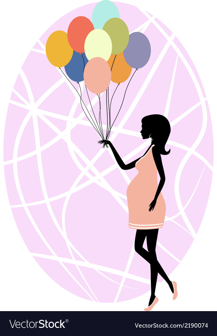 Silhouette of a fashionable pregnant woman vector | Price: 1 Credit (USD $1)