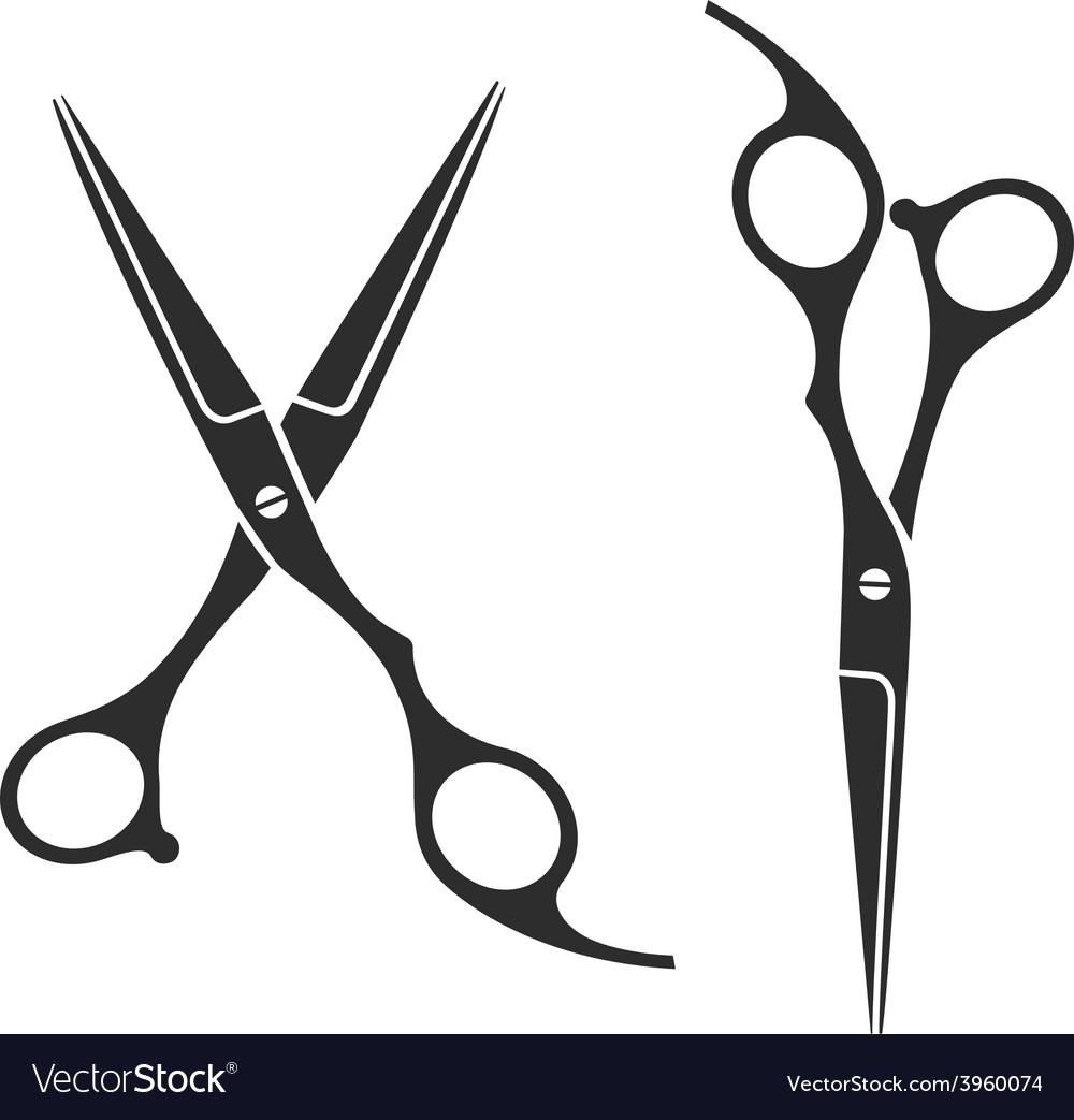 Vintage barber shop scissors logo label badge vector | Price: 1 Credit (USD $1)
