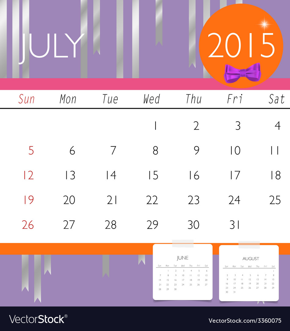 2015 calendar monthly calendar template for july vector | Price: 1 Credit (USD $1)