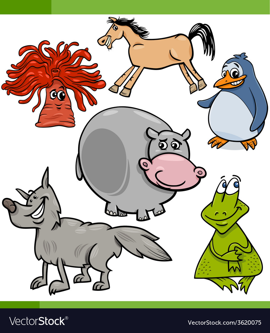 Animals cartoon characters set vector | Price: 1 Credit (USD $1)