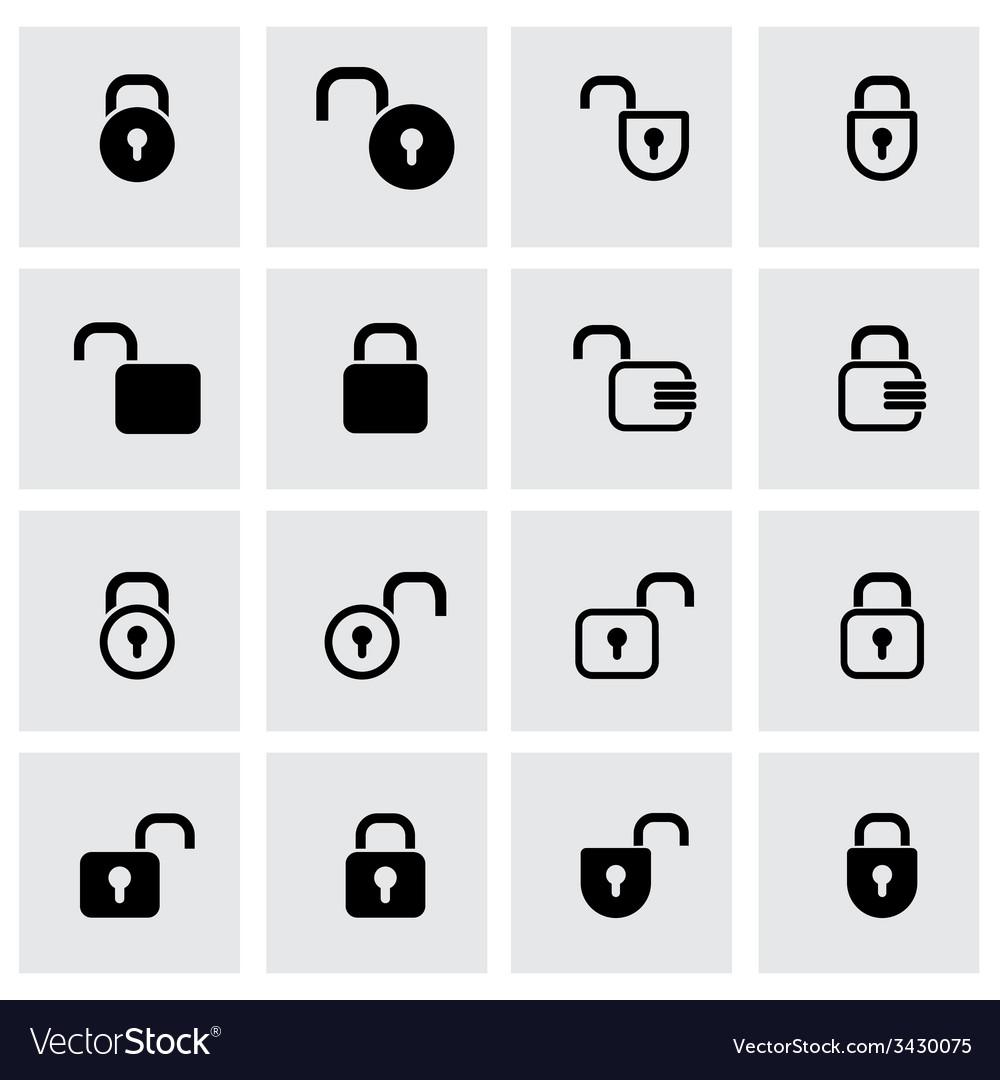 Black locks icon set vector | Price: 1 Credit (USD $1)