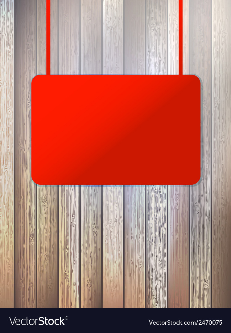 Blank red signboard on aged wooden wall eps10 vector | Price: 1 Credit (USD $1)