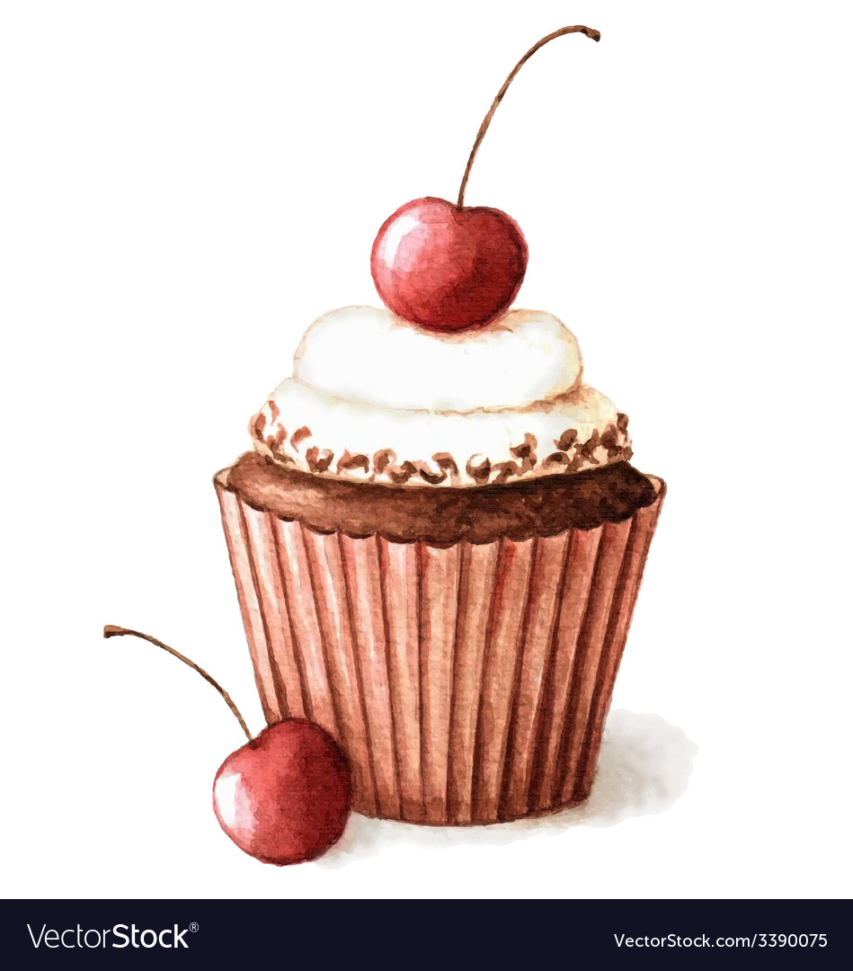 Hand painted watercolor cherry muffin vector | Price: 1 Credit (USD $1)