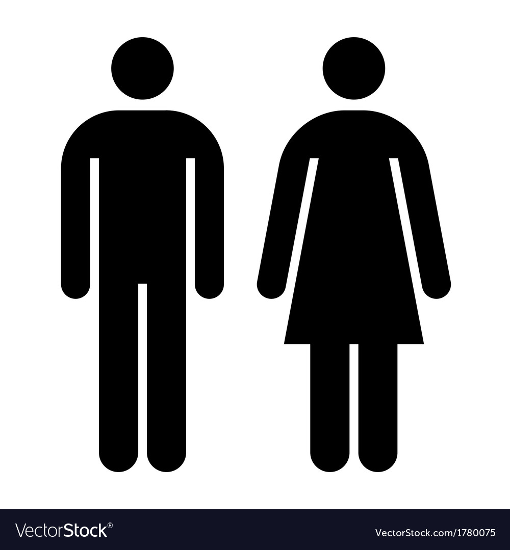 Male female wc sign vector | Price: 1 Credit (USD $1)