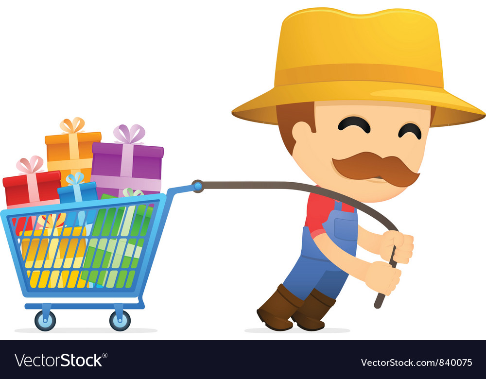 Man pulling shopping cart vector | Price: 1 Credit (USD $1)