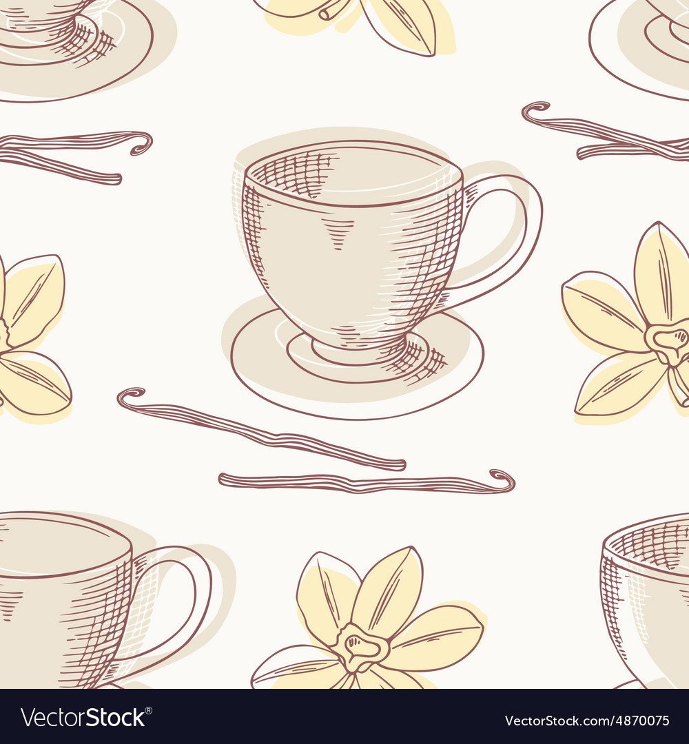 Outline coffee cup with vanilla seamless vector