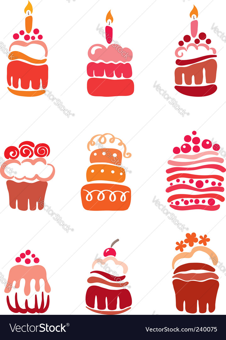 Set pink cakes vector | Price: 1 Credit (USD $1)