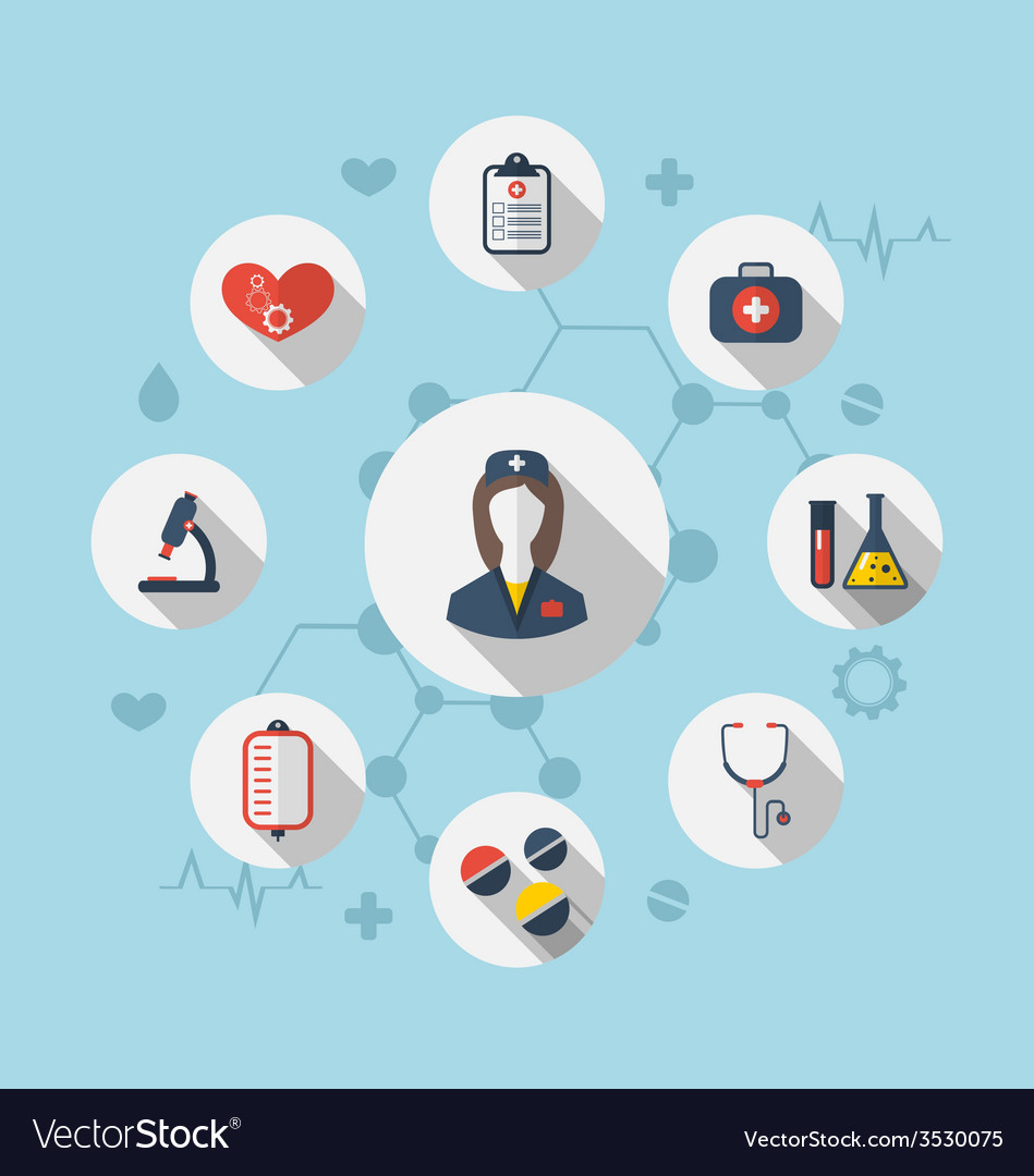 Set trendy flat icons of medical elements and vector | Price: 1 Credit (USD $1)