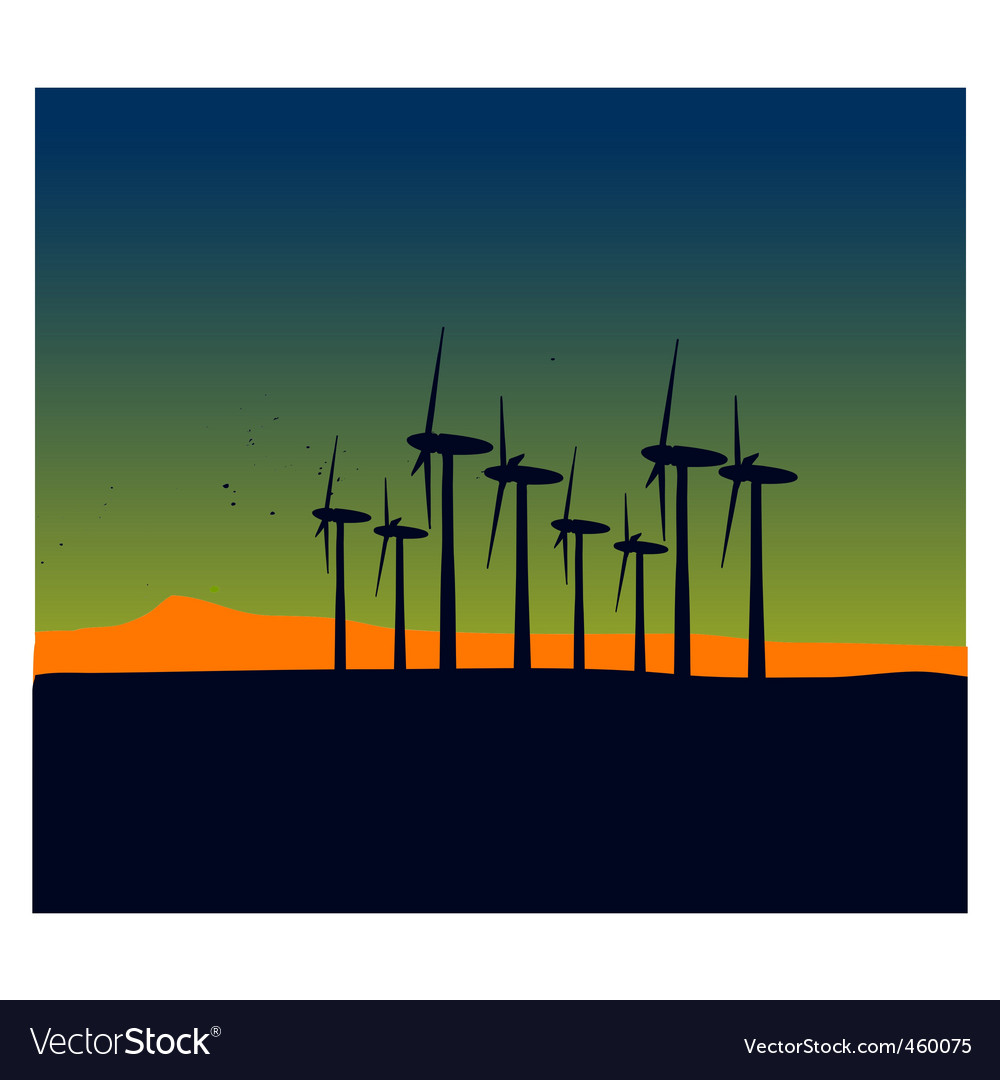 Windmill silhouettes on sunset landscape vector | Price: 1 Credit (USD $1)