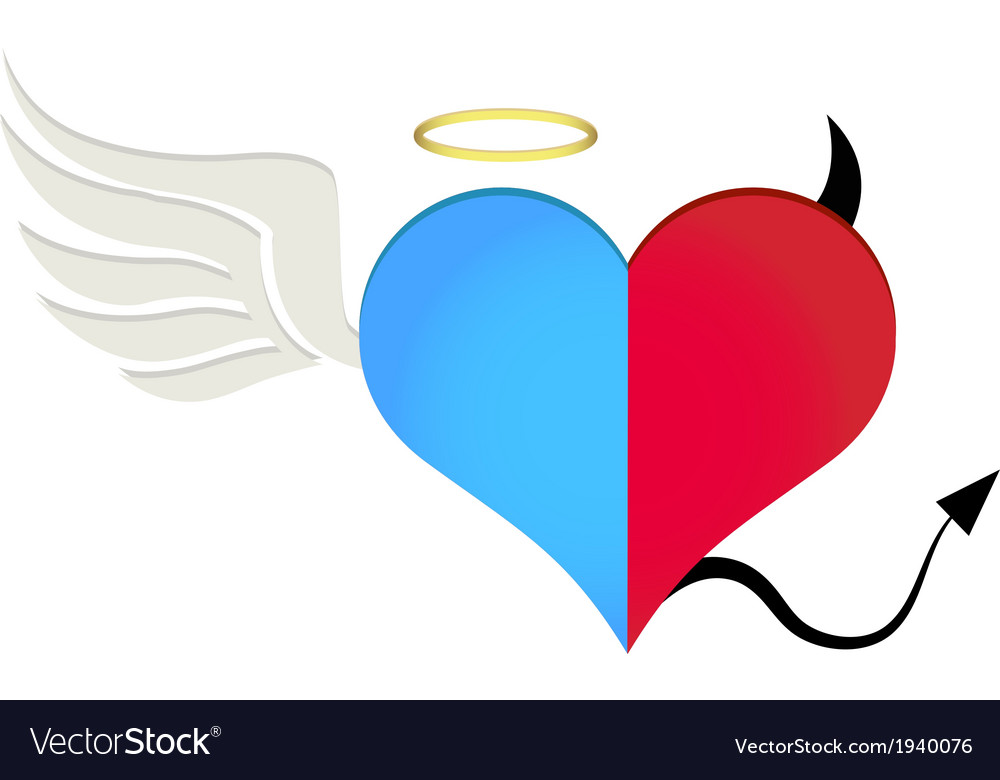 Angel-devil heart vector | Price: 1 Credit (USD $1)