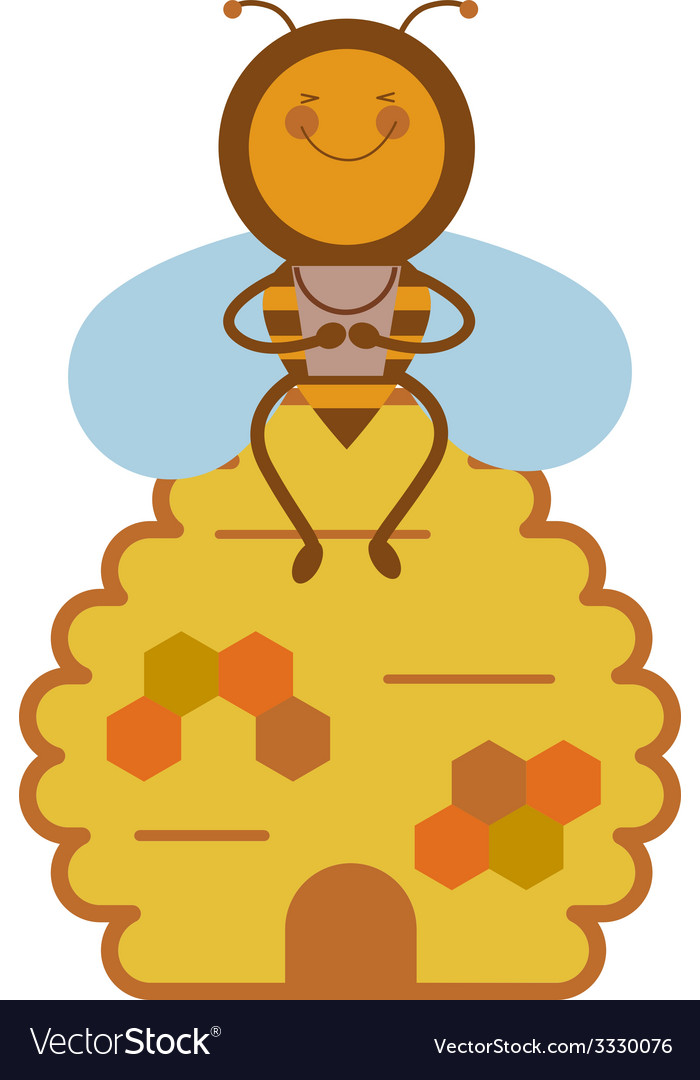 Bee and beehive vector | Price: 1 Credit (USD $1)