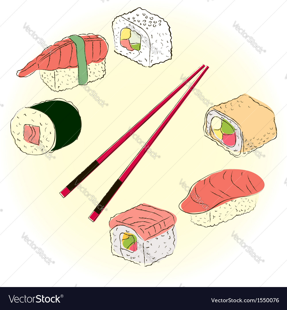 Colored sketchy sushi set vector | Price: 1 Credit (USD $1)