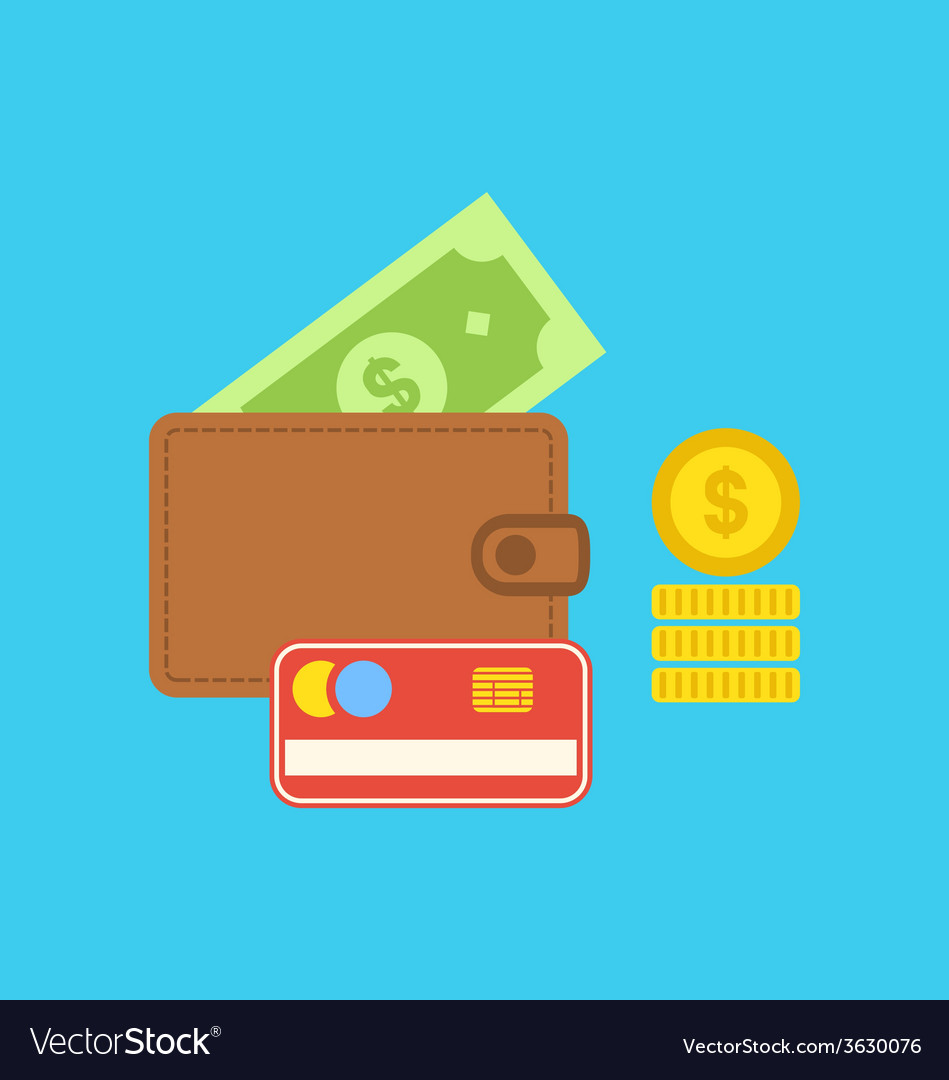 Flat colorful icons of wallet credit card dollar vector | Price: 1 Credit (USD $1)