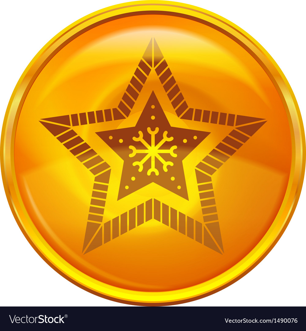 Gold button with star vector | Price: 1 Credit (USD $1)