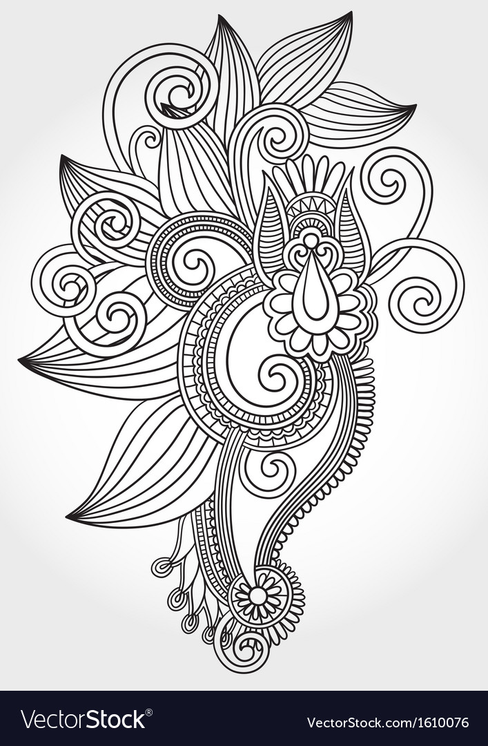 Hand draw line art ornate flower vector | Price: 1 Credit (USD $1)