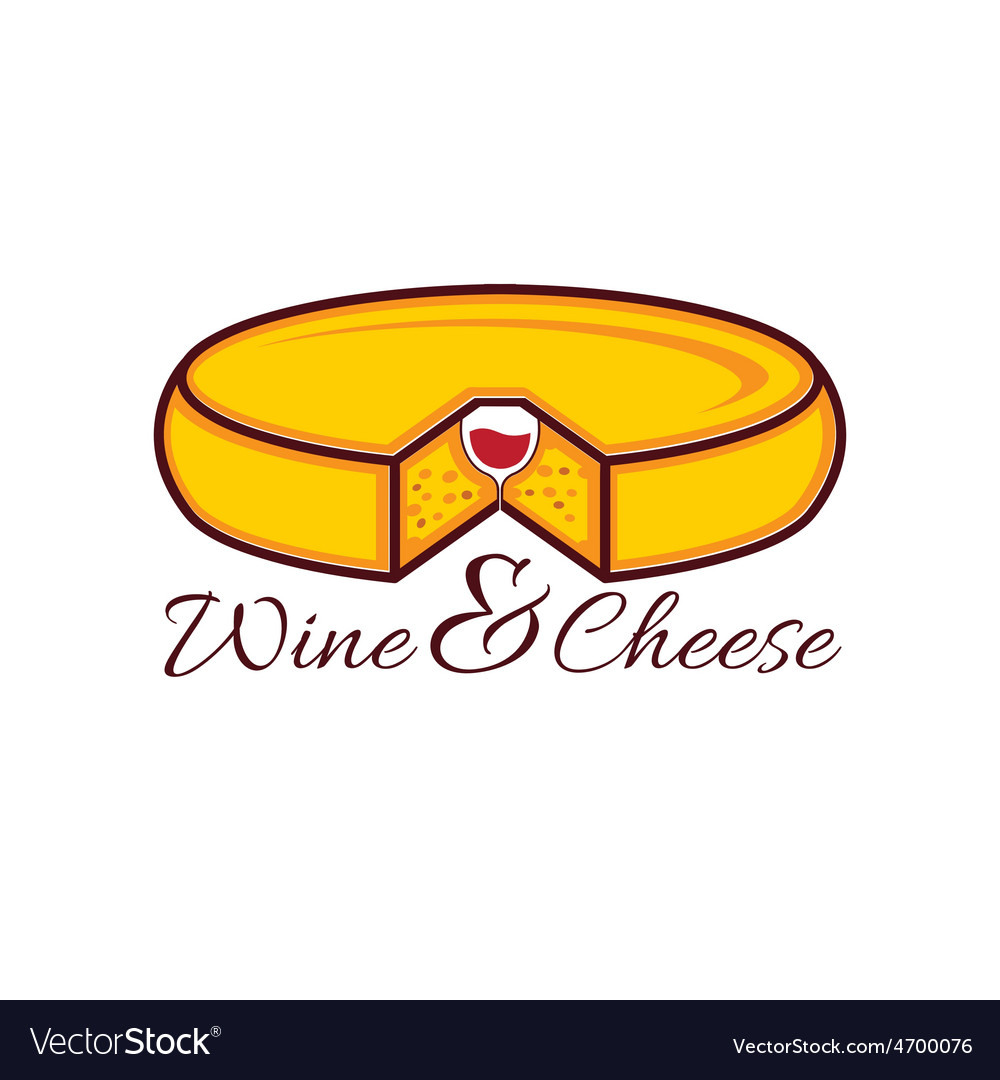Head of cheese and wine glass in it design vector | Price: 1 Credit (USD $1)