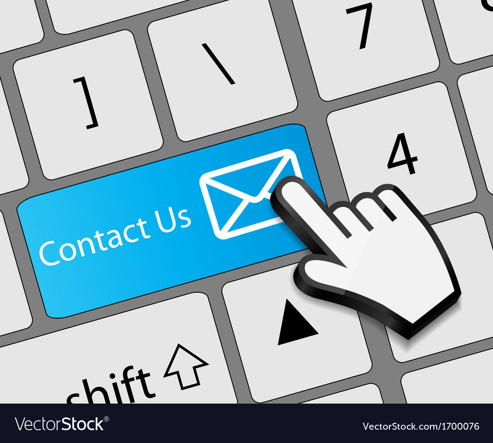 Keyboard contact us button with mouse hand cursor vector | Price: 1 Credit (USD $1)