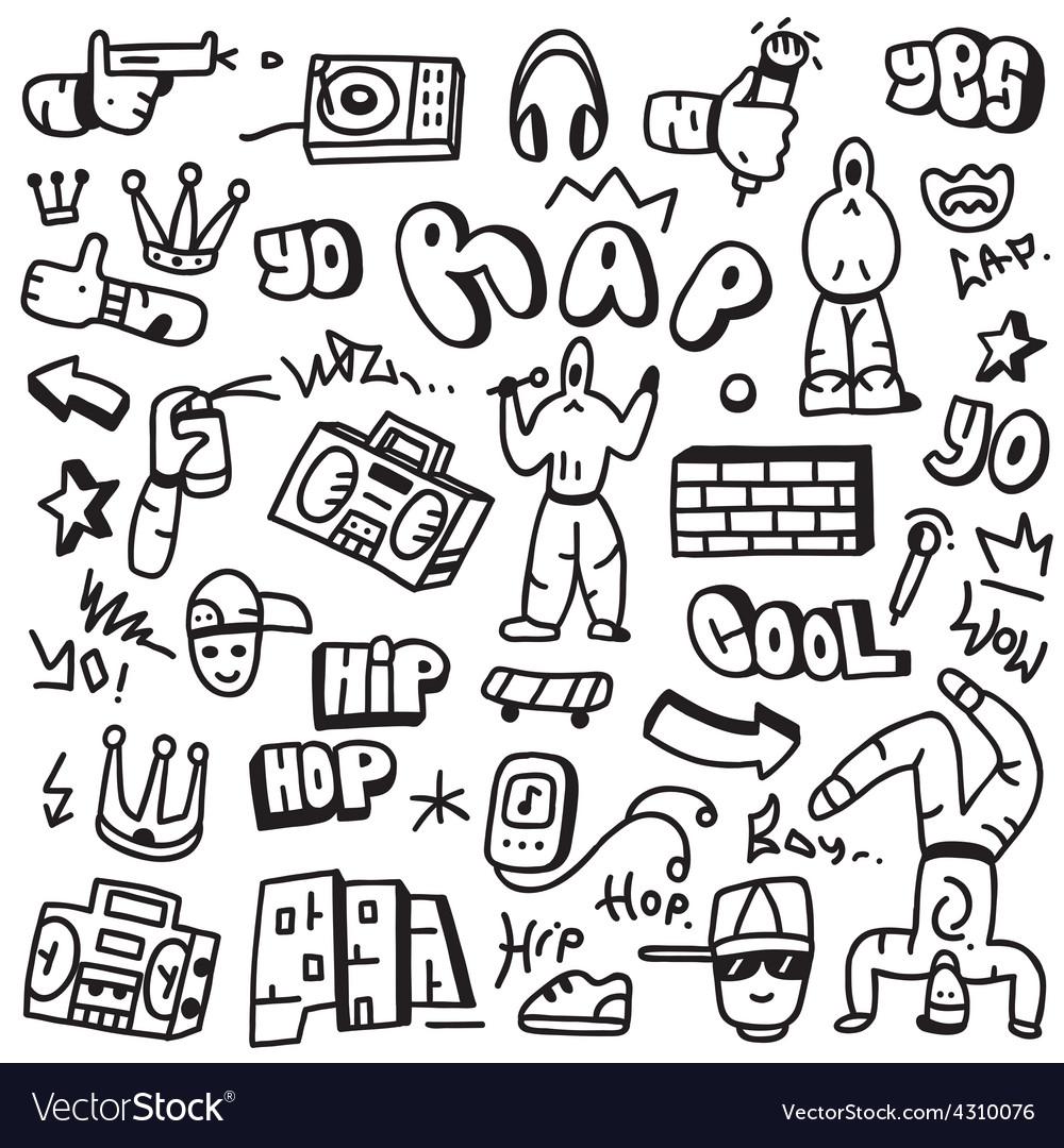 Raphip hop - doodles vector | Price: 1 Credit (USD $1)