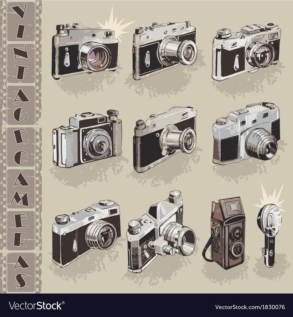 Retro cameras collection vector | Price: 1 Credit (USD $1)