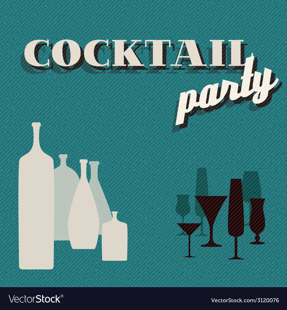 Retro teal coctail party invitation card vector | Price: 1 Credit (USD $1)