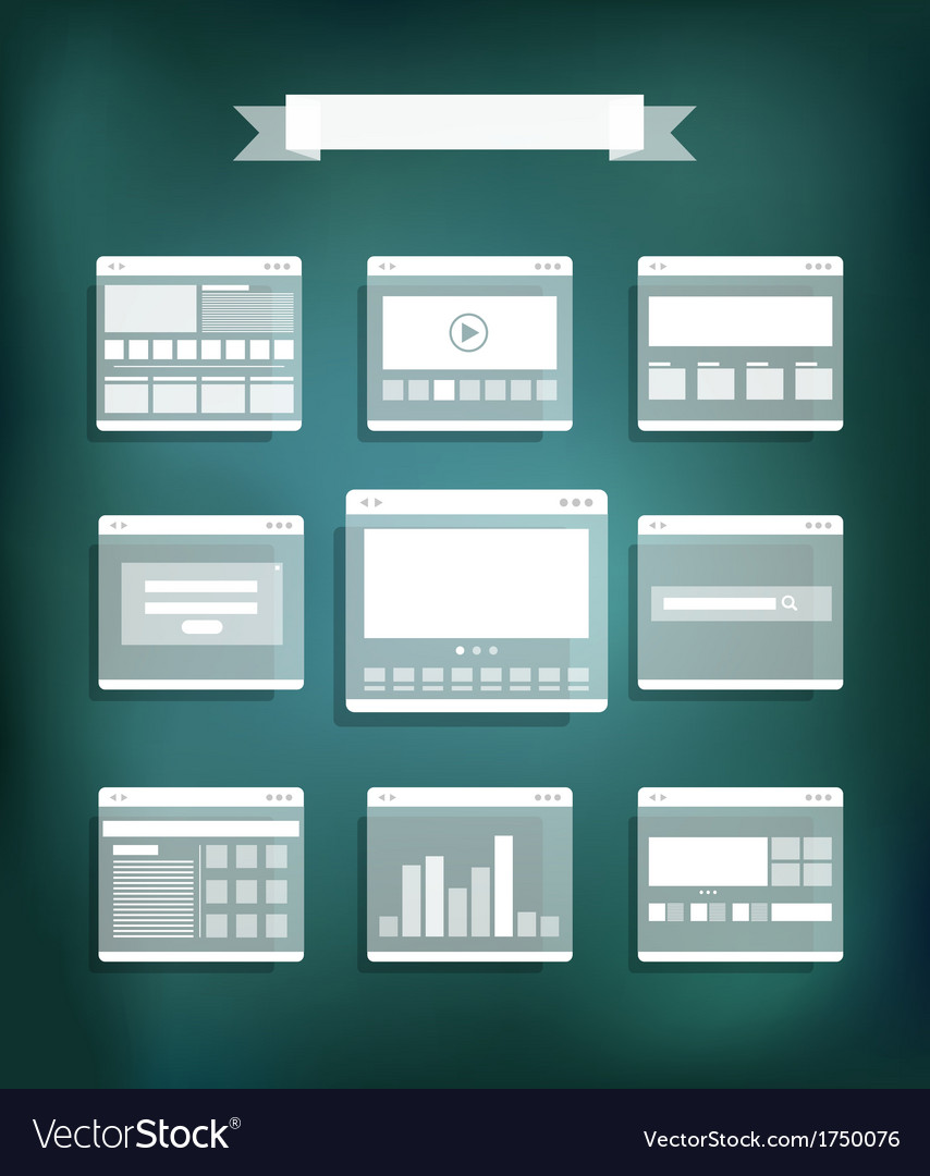 Transparent web site page templates collection vector   Price: 1 Credit (USD $1)