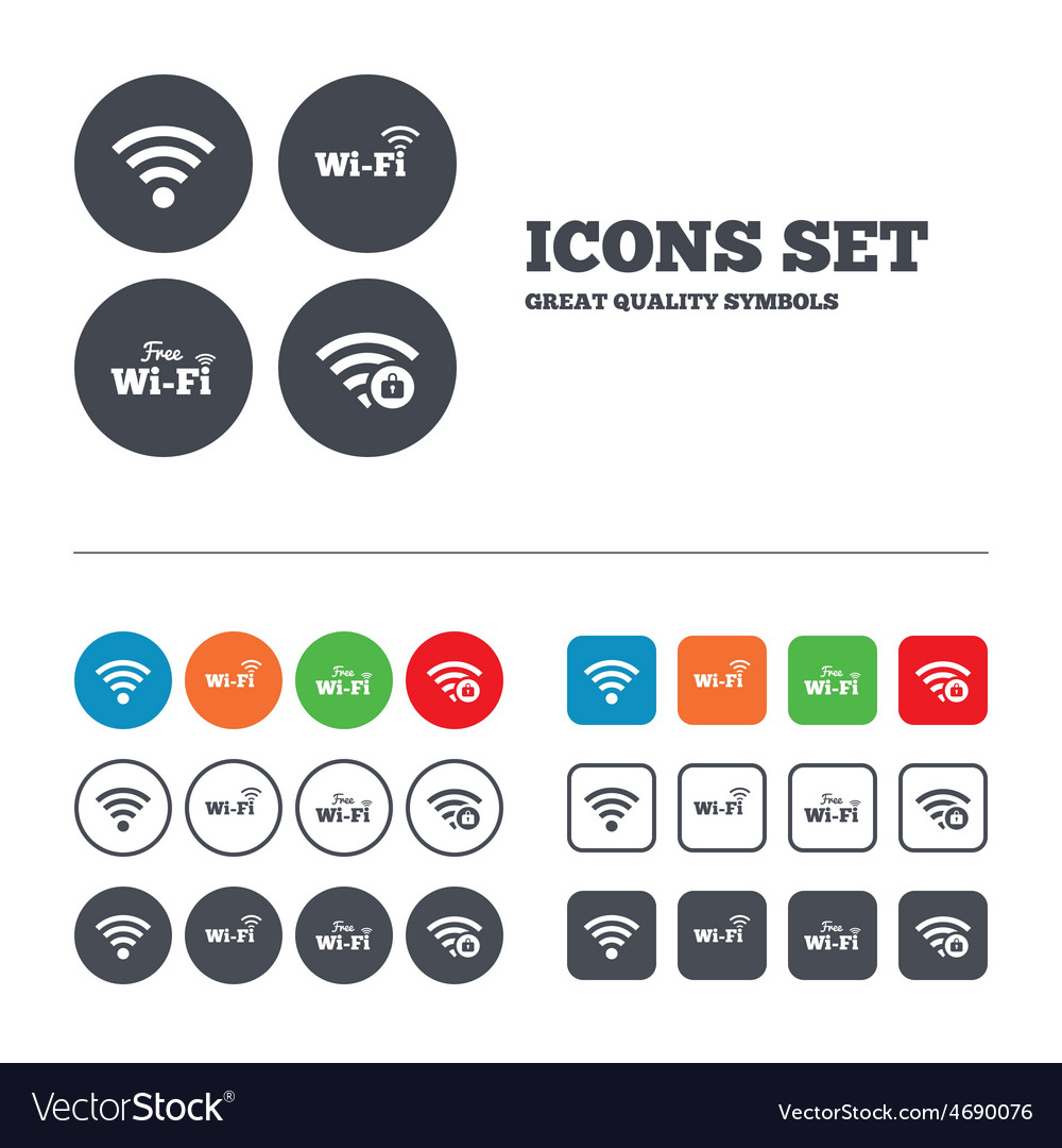 Wifi wireless network icons wi-fi zone locked vector | Price: 1 Credit (USD $1)