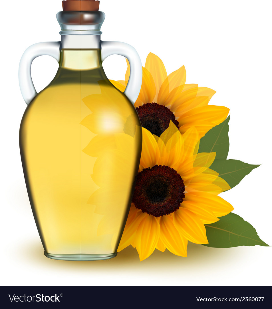 Bottle of sunflower oil with flower vector | Price: 1 Credit (USD $1)