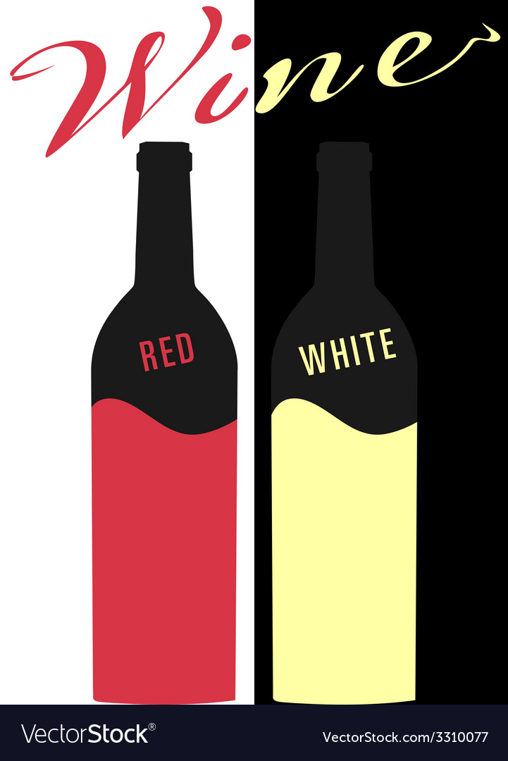 Bottle of wine red and white image flat vector | Price: 1 Credit (USD $1)
