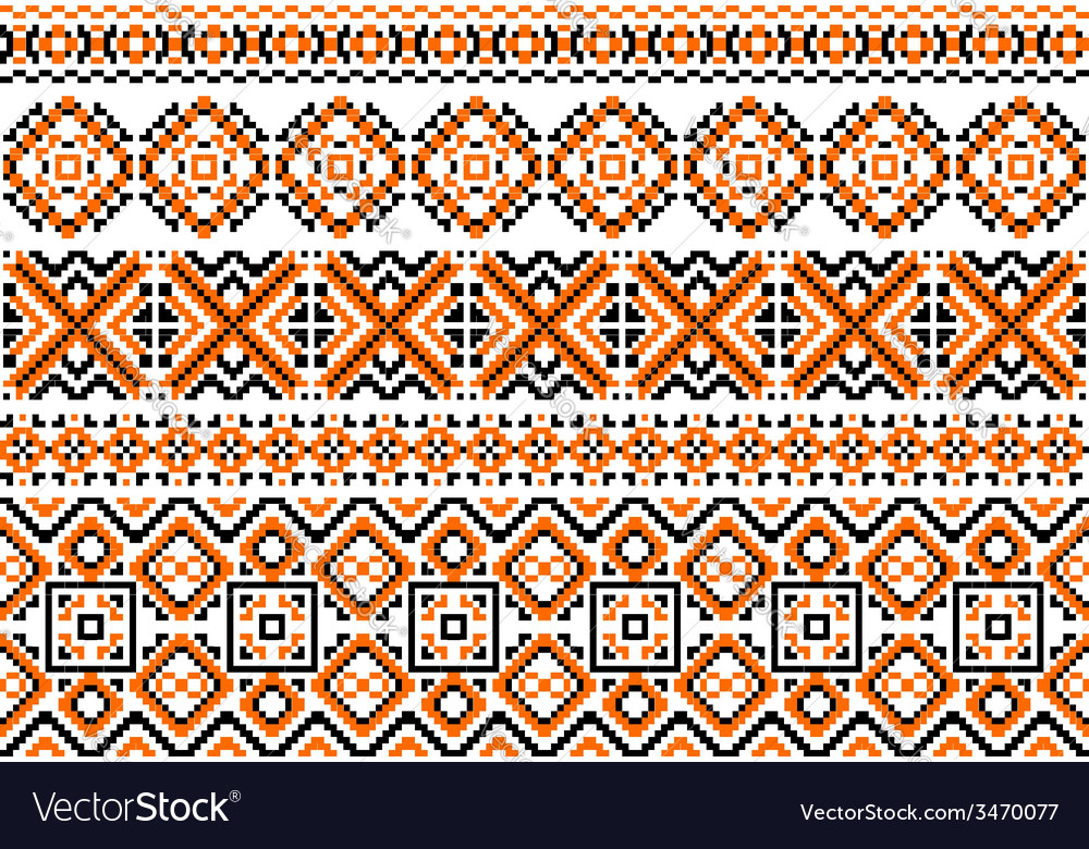 Close up cross stitch ethnic borders and patterns vector | Price: 1 Credit (USD $1)