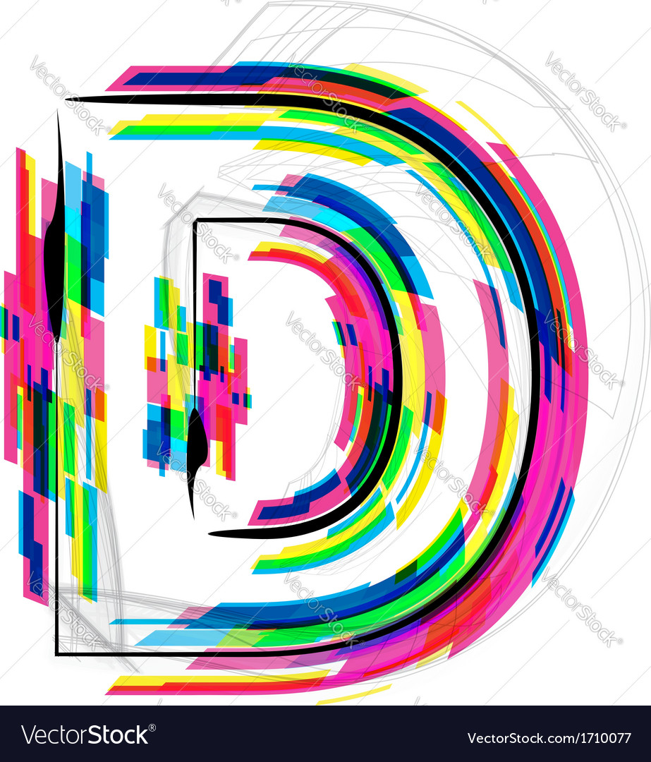 Colorful font letter d vector | Price: 1 Credit (USD $1)