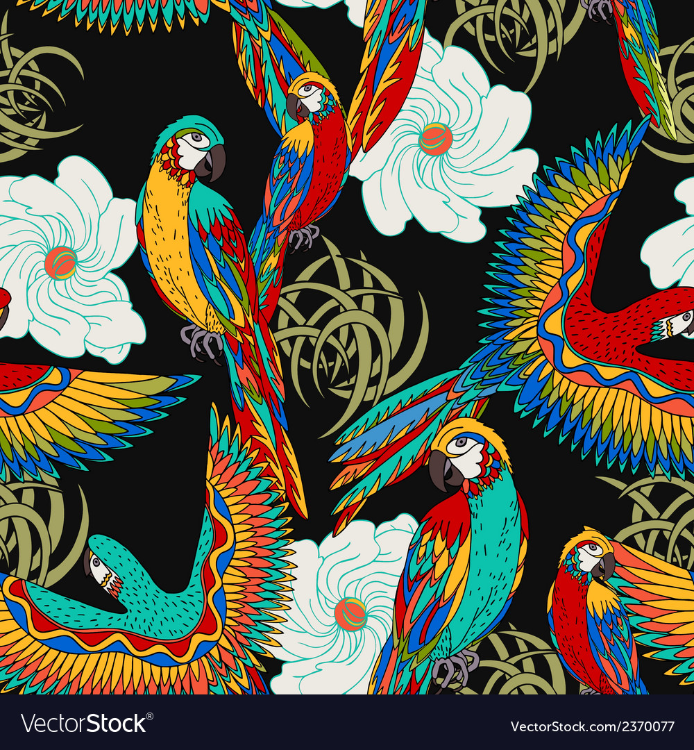 Floral black background with parrots vector