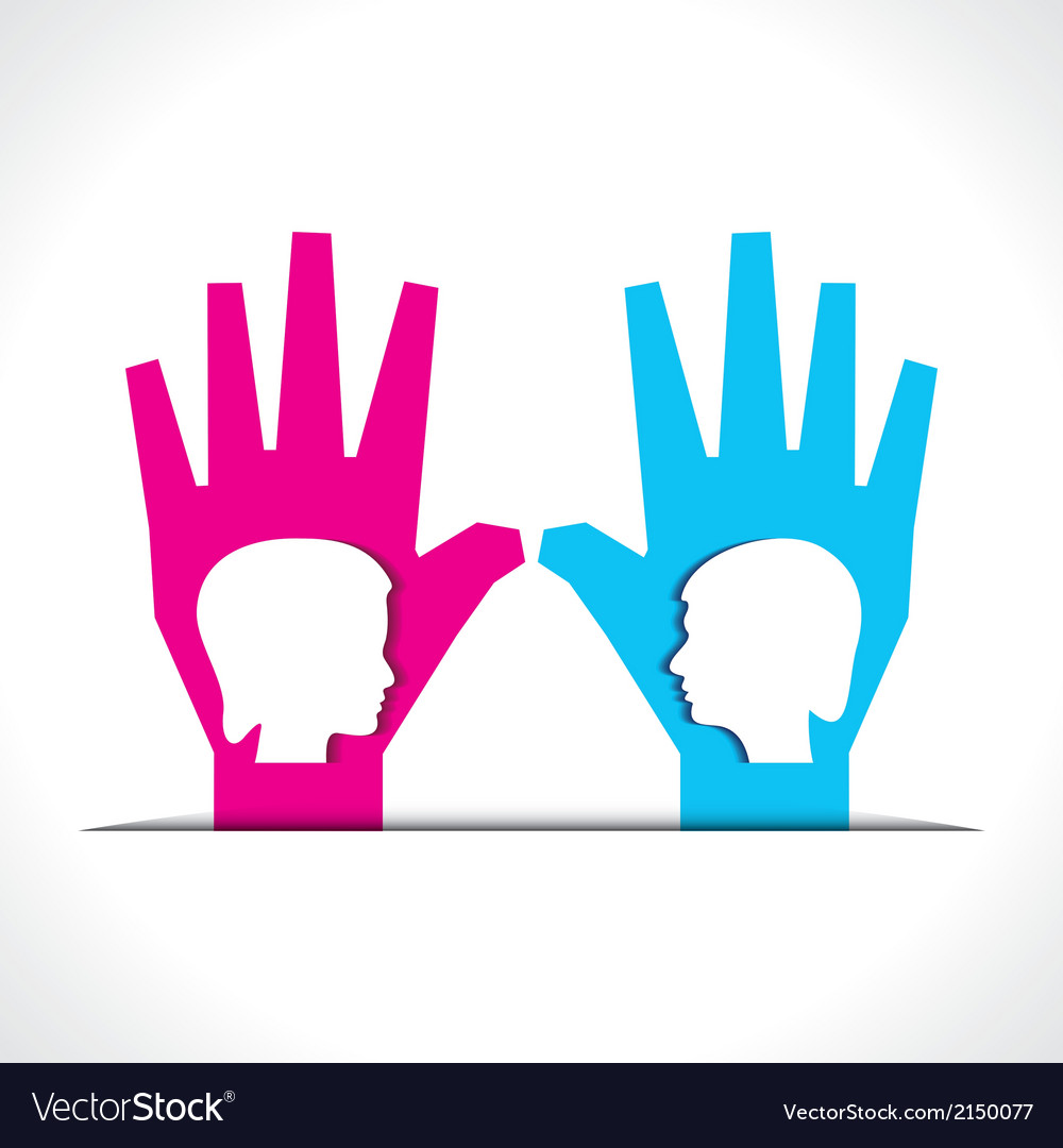 Male and female face on palm vector | Price: 1 Credit (USD $1)