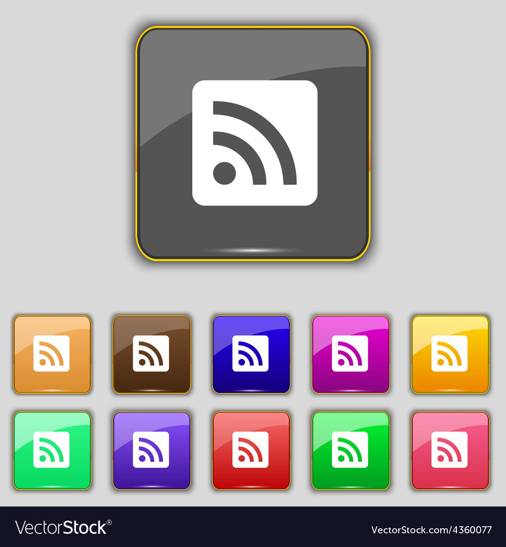 Rss feed icon sign set with eleven colored buttons vector | Price: 1 Credit (USD $1)