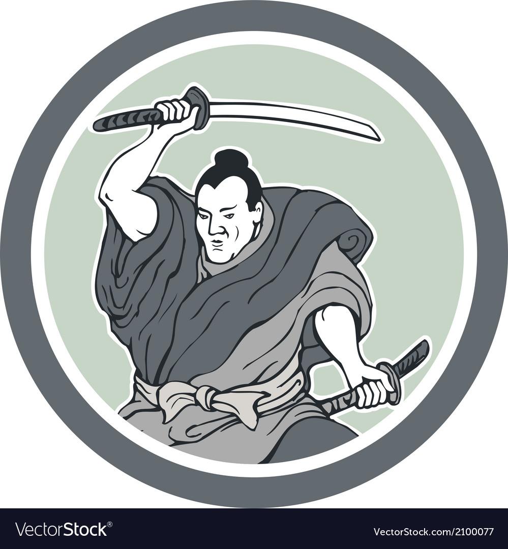 Samurai warrior wielding katana sword circle vector | Price: 1 Credit (USD $1)
