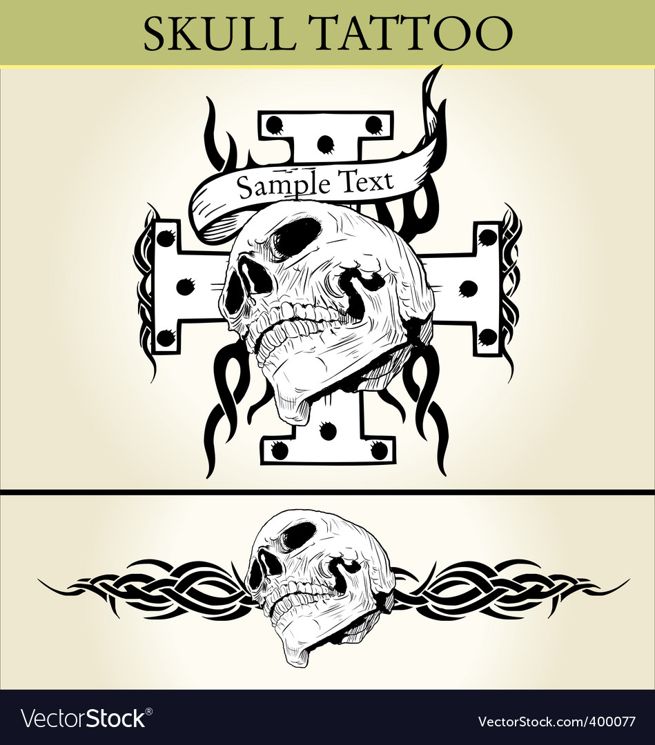 Skull tattoo design vector | Price: 1 Credit (USD $1)