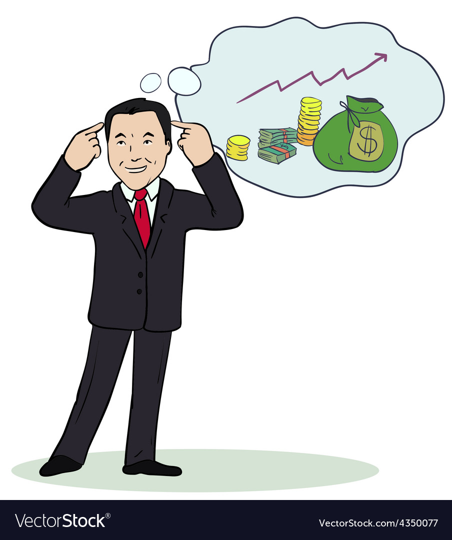 Smiling businessman standing think vector | Price: 1 Credit (USD $1)