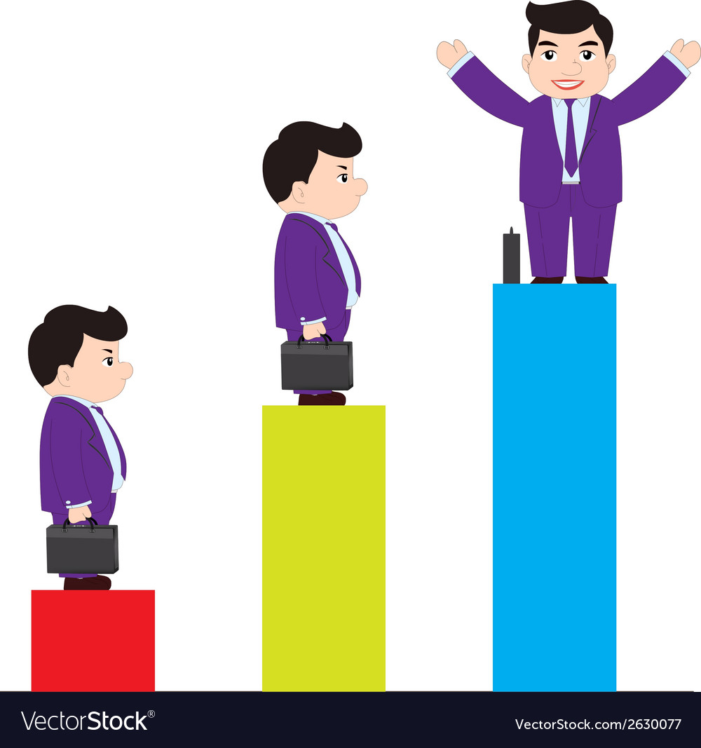 Successful businessman on chart vector | Price: 1 Credit (USD $1)