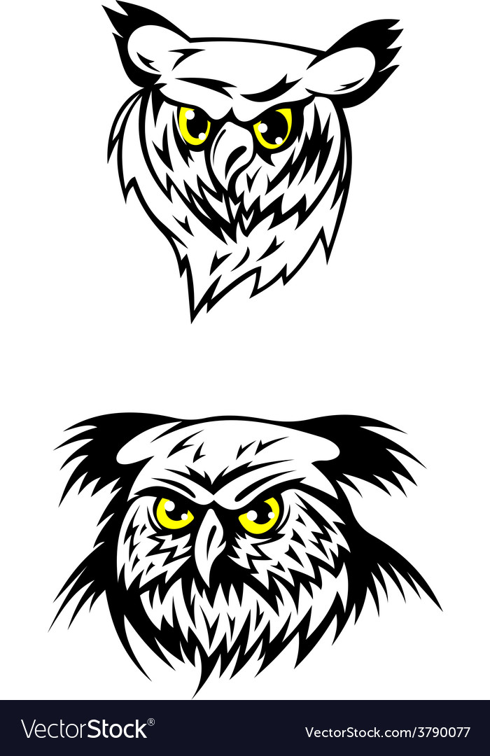 Two fierce looking owls with yellow eyes vector | Price: 1 Credit (USD $1)
