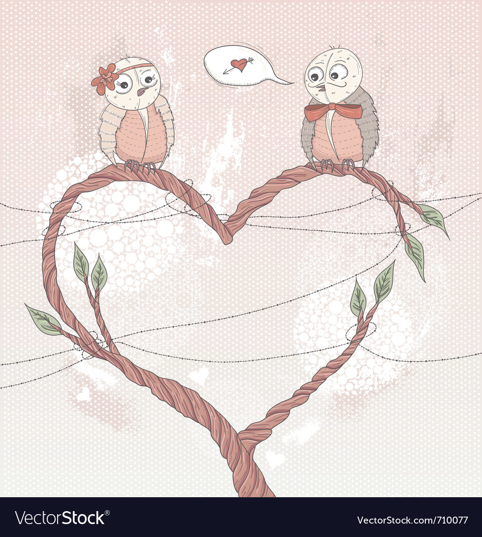 Valentines day card cute bird in love vector | Price: 1 Credit (USD $1)