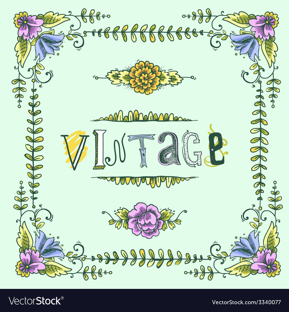 Vintage colored frame vector | Price: 1 Credit (USD $1)