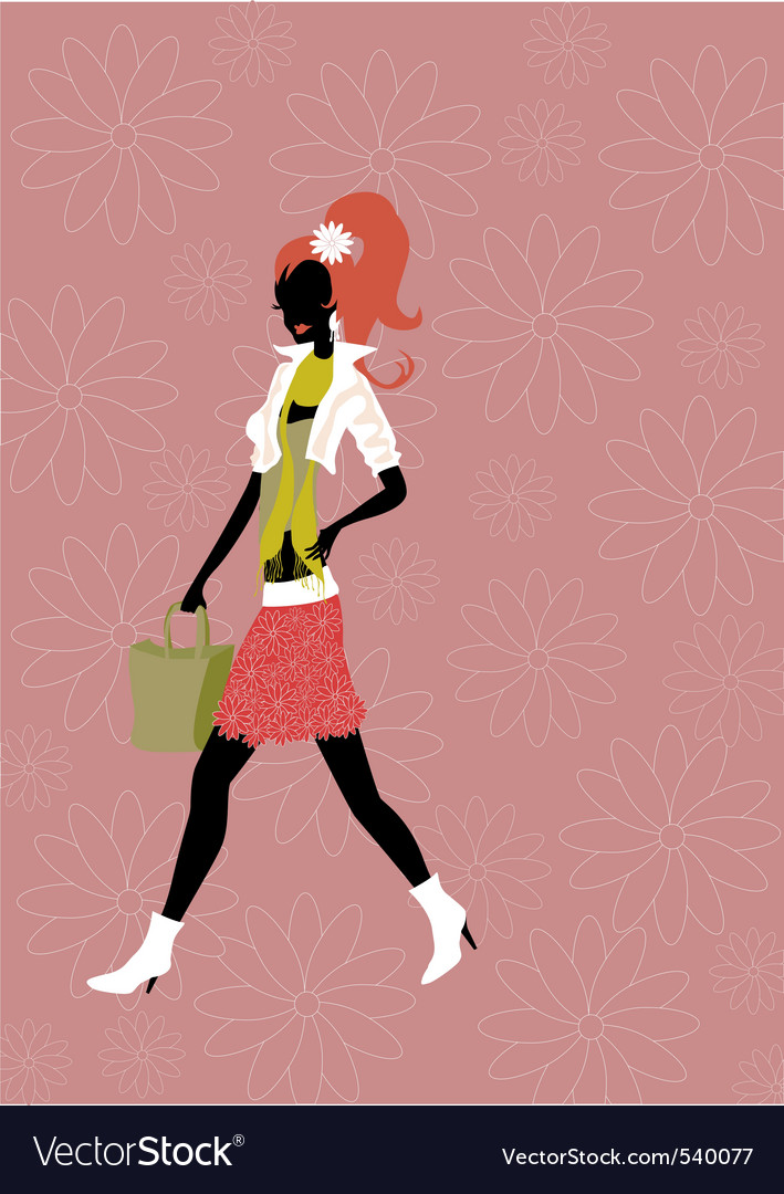 Walking woman vector | Price: 1 Credit (USD $1)